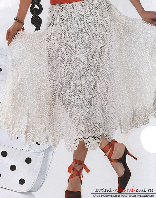 Ornate white skirt crocheted. Photo №4