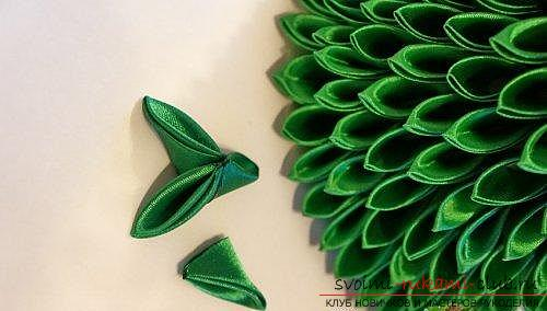 How to make a herringbone from ribbons in Kansas technique, master classes of creating Christmas trees from sharp and round petals, ways of creating ornaments for miniature Christmas trees. Photo №6