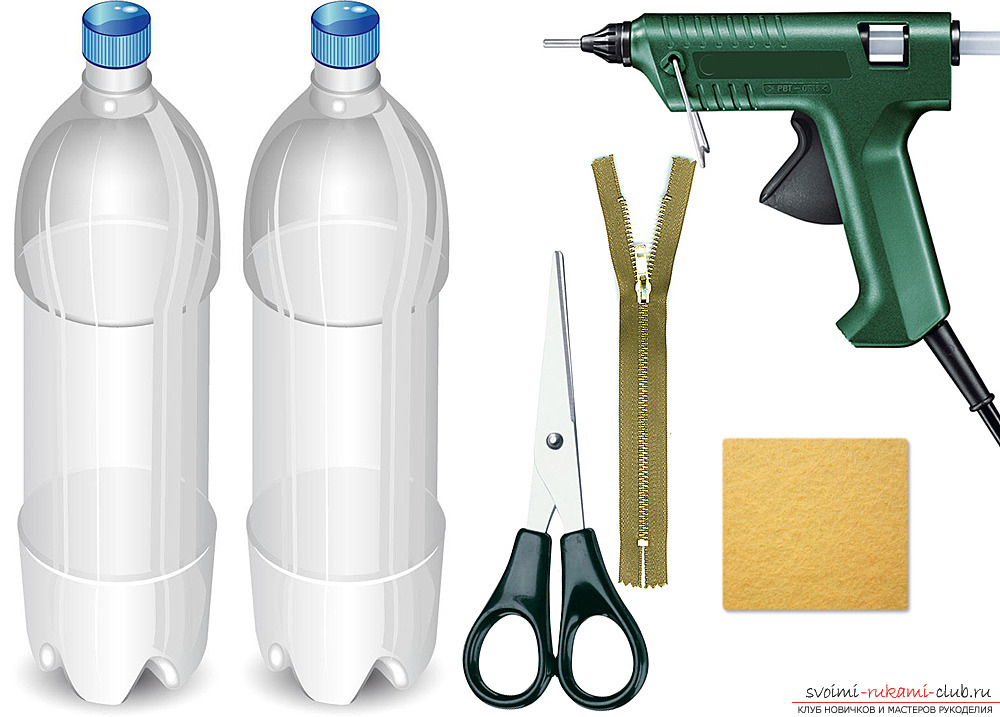 A pencil case for pencils, pens or markers can be made from a seemingly unnecessary material - plastic bottles. Photo №1