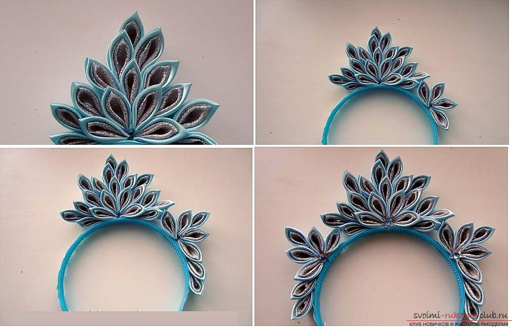 How to make a rim decoration for the hair in the form of turquoise flowers in Kansas technique, free, detailed photos and description. Photo number 15