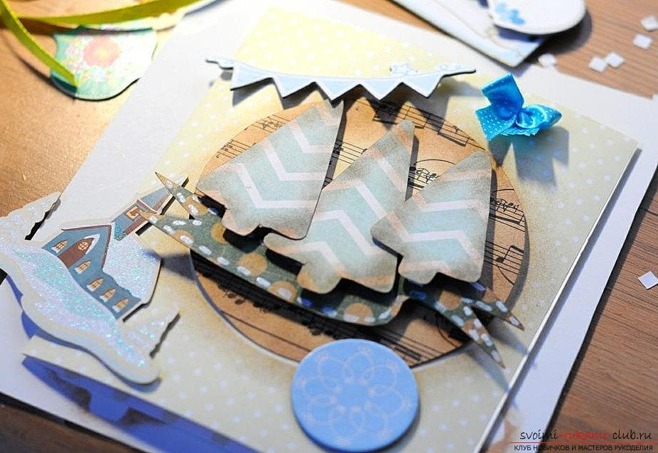 Master class on the scrapbooking of the New Year's card with your own hands - step by step instruction. Photo №7