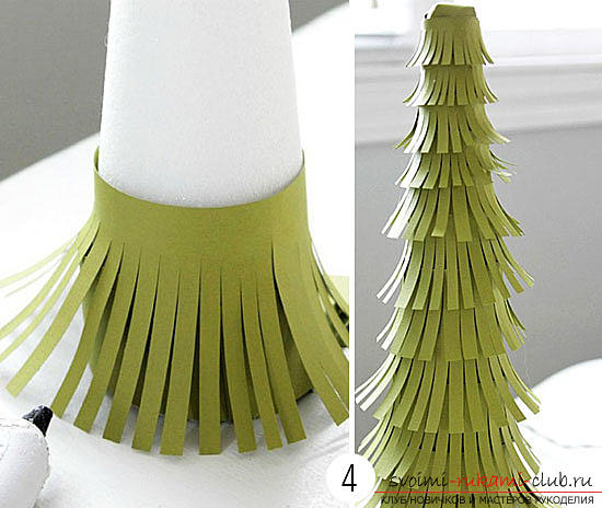 New Year tree with their own hands, Christmas tree of paper, Christmas tree of cloth, how to make a New Year tree, tips, recommendations, step-by-step photos .. Photo №5