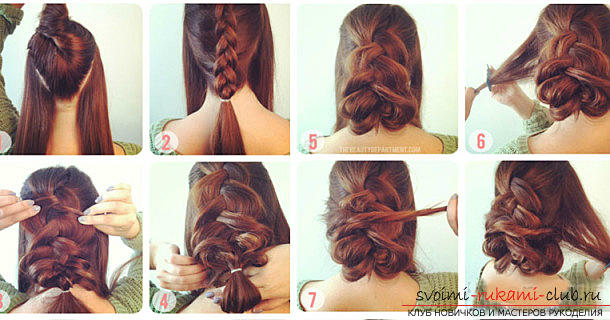 Fast hairstyles for the holiday with their own hands, step by step photos and detailed instructions .. Photo # 1