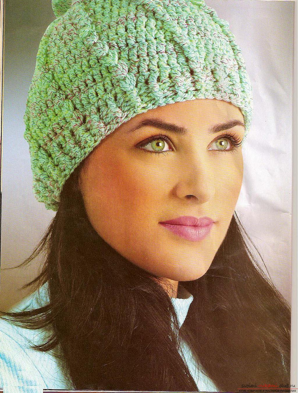 crocheted woolen fishnet hat. Photo №5