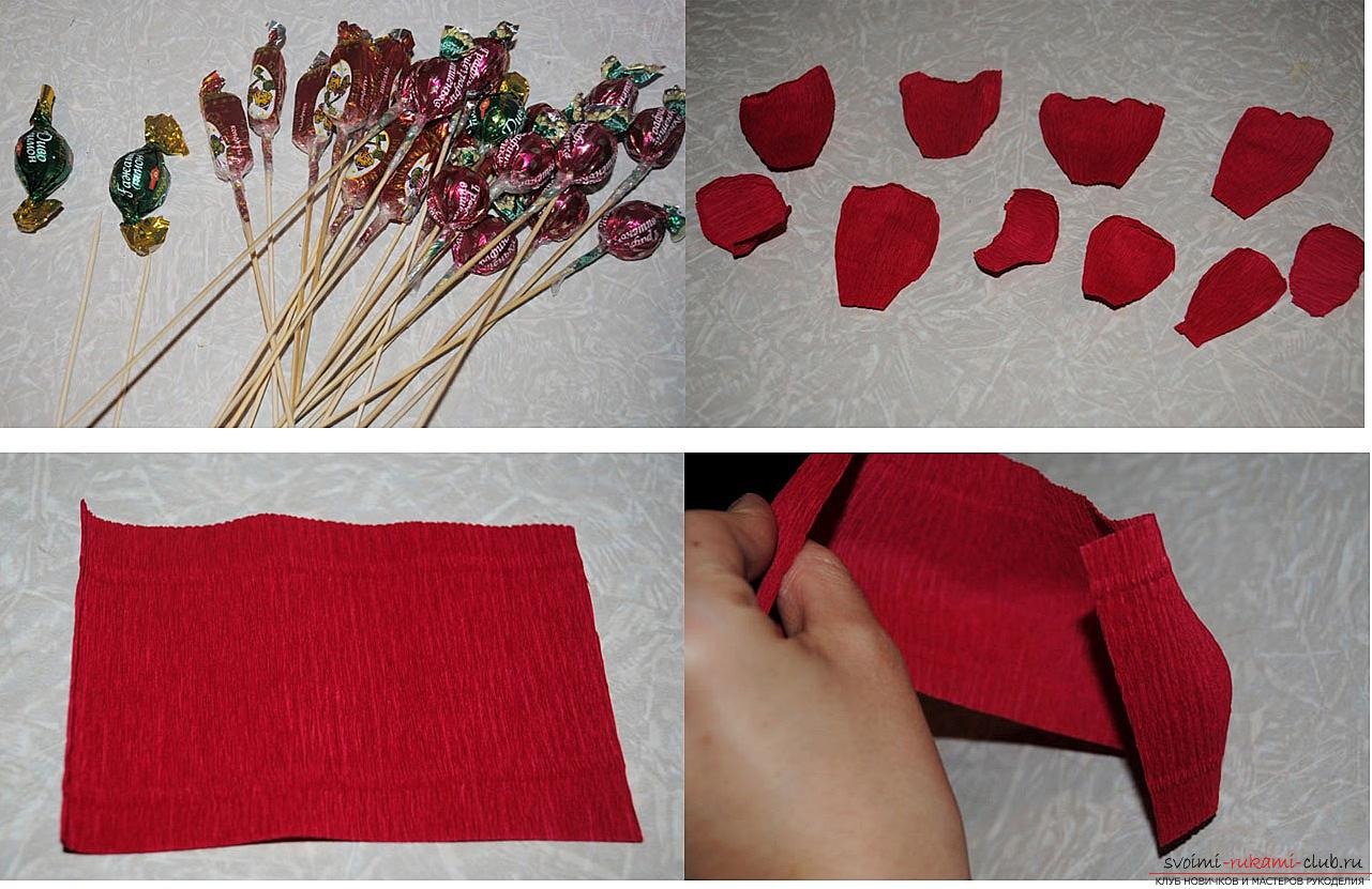 How to make a candy bouquet of roses, step-by-step photos and instructions for creating roses from corrugated paper with candy hearts. Photo №7