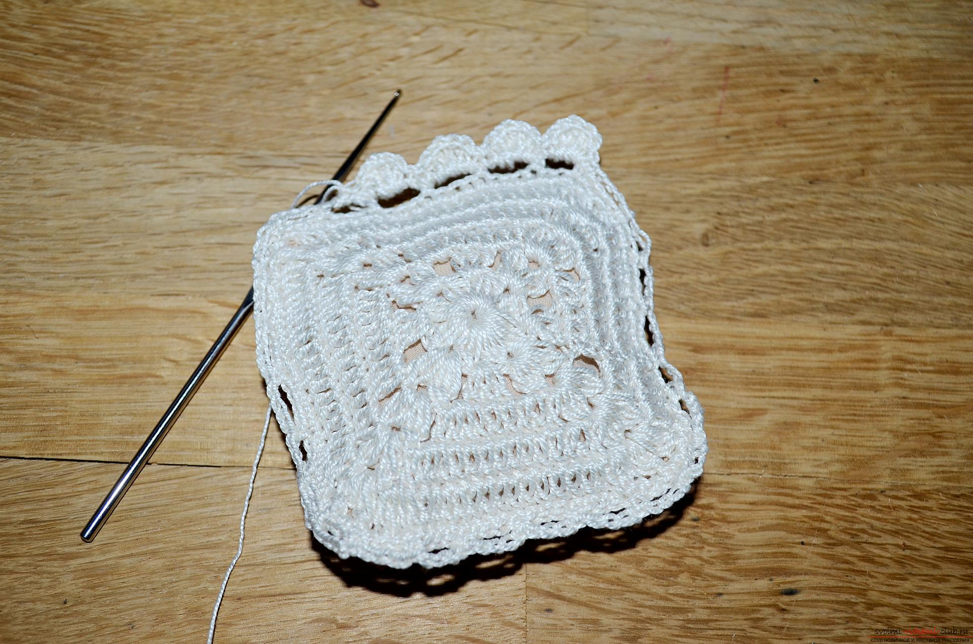 A crocheting lesson for the original cushion-needle bed with step-by-step recommendations and photos. Photo number 17