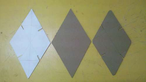 Cutting out parts A of cardboard
