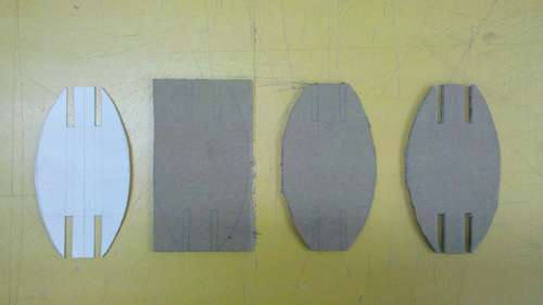 Cutting C parts from cardboard