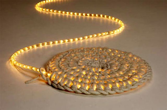 LED floor light in the carpet