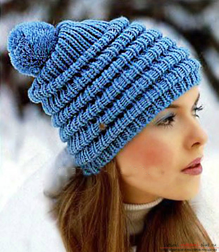 knitted knitted cap of acrylic yarn. Photo №1
