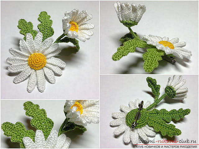 Free master class on knitting chamomile flowers with description and step by step .. Picture №1