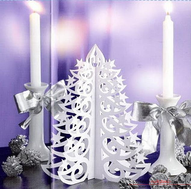 photo examples of the process of making an openwork Christmas tree made of paper. Photo Number 19