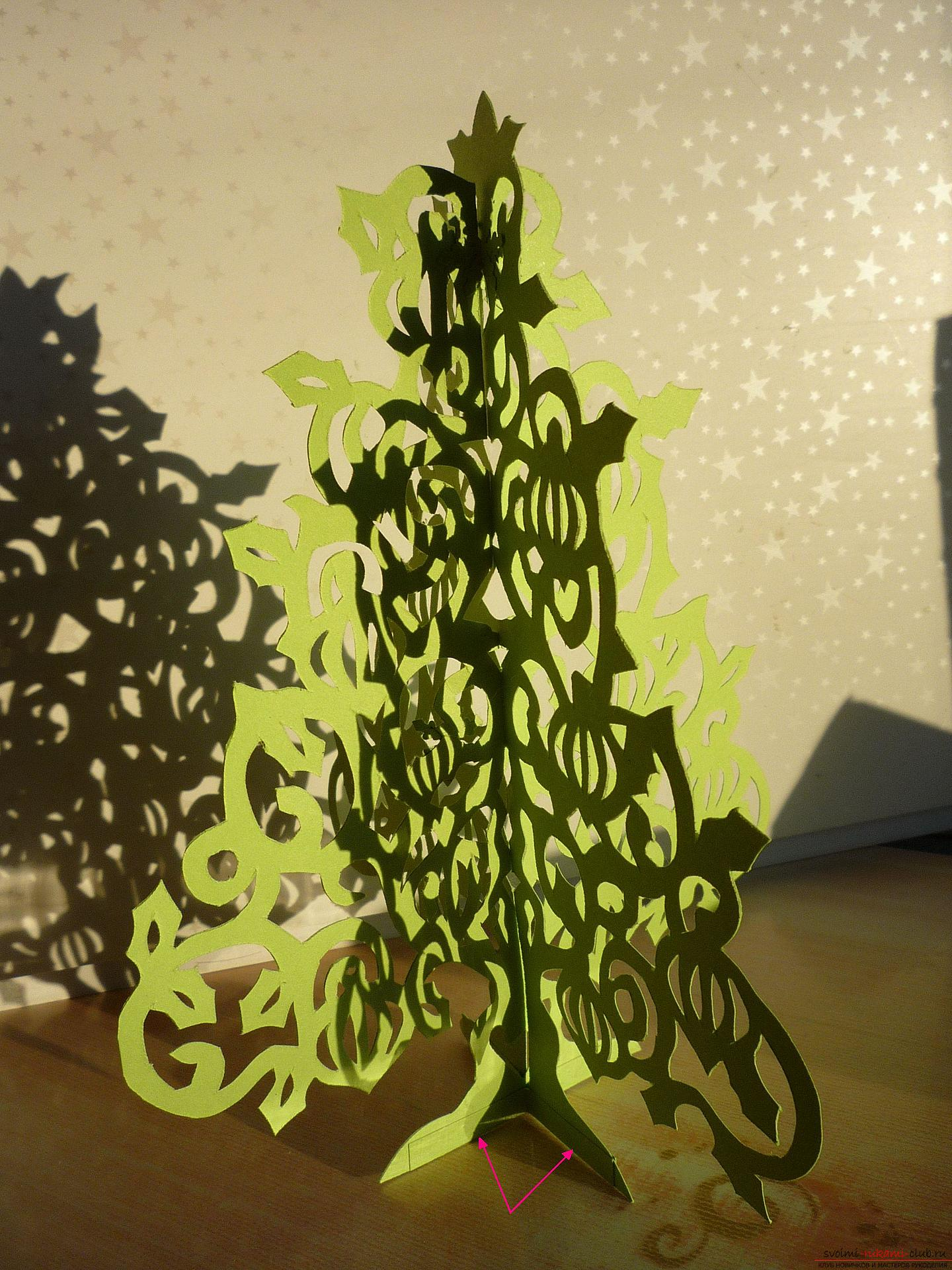 The master class will teach you how to make your own hands a New Year's 3D Christmas tree made of paper. Photo №5