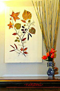 Crafts, autumn crafts that can be made from leaves, an autumn glass ball, paintings on the theme of autumn, detailed instructions and phased photos .. Photo # 31