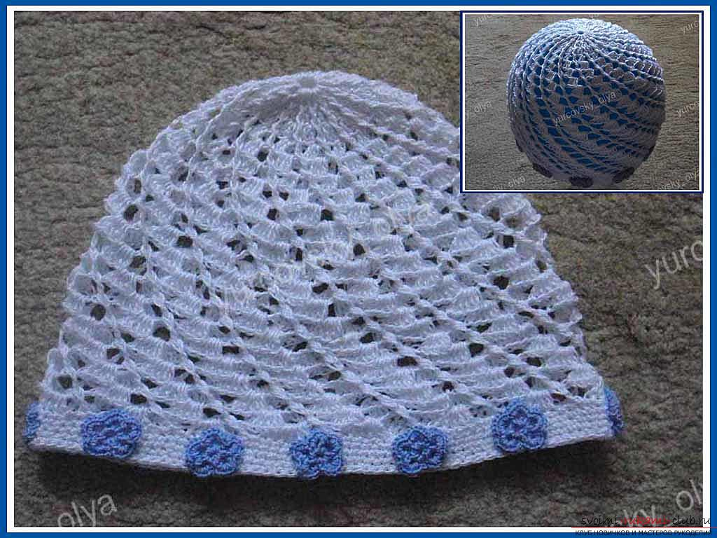 How to make a summer baby hat at home. Step-by-step instruction of knitting a children's cap with their own hands .. Photo №1