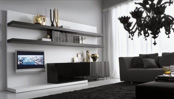 Black furniture in the living room interior