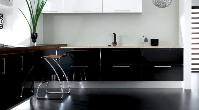 Black furniture in the interior of the kitchen