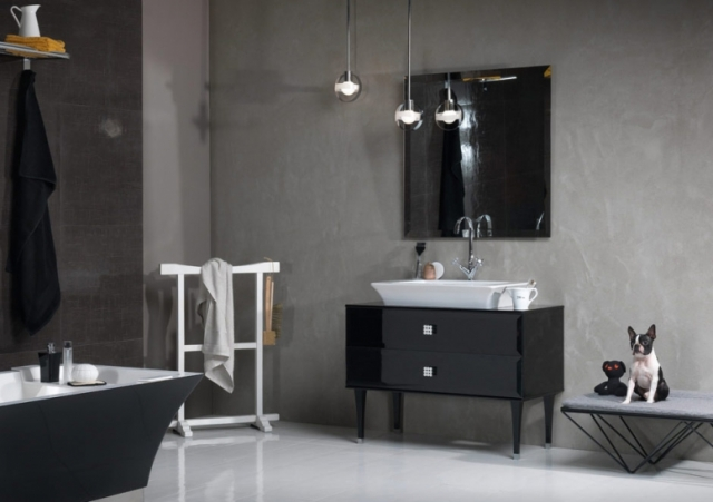 Black furniture in the bathroom