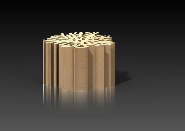wooden stool in the form of coral