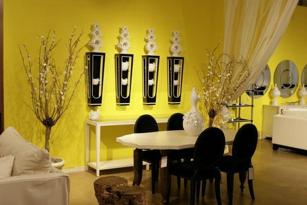 Yellow color in the winter interior
