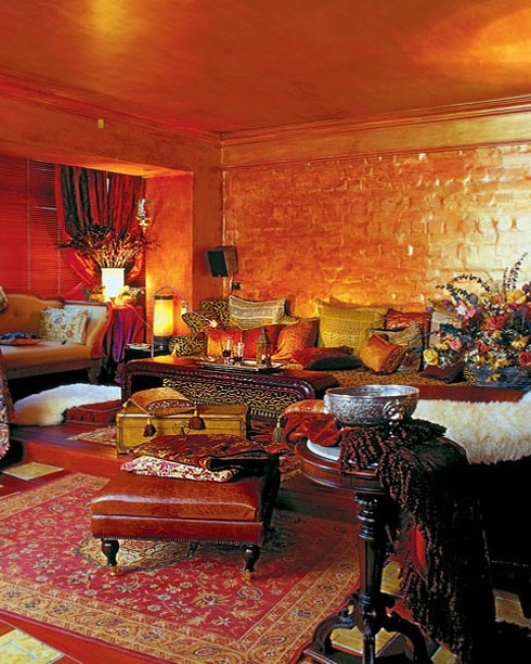 Orange color in the winter interior