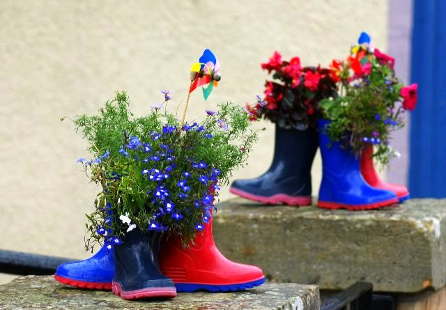 flower pots made of rubber boots