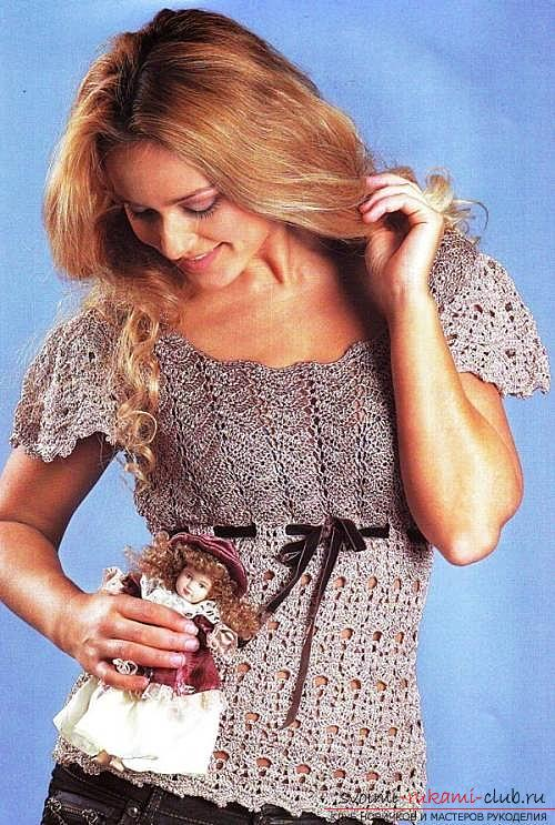 How to tie a summer female blouse crochet, patterns, patterns, description of work. Photo №1