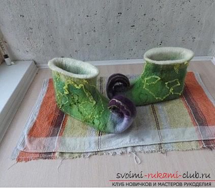 Elven slippers with their own hands - felting New Year's costume and master class. Photo №8