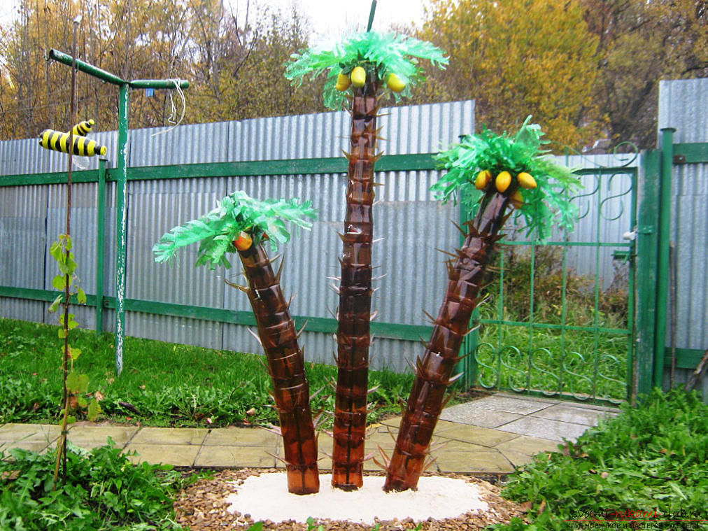 How to make a palm from plastic bottles, a master class with a photo and a description of the work .. Photo # 1
