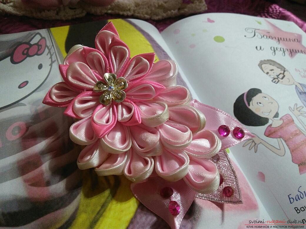 Kanzashi: a gentle hairpin in pink tones. Photo №1