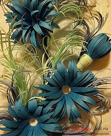 How to make a New Year's panel with flowers in the quilling technique? Master Class. Photo №1