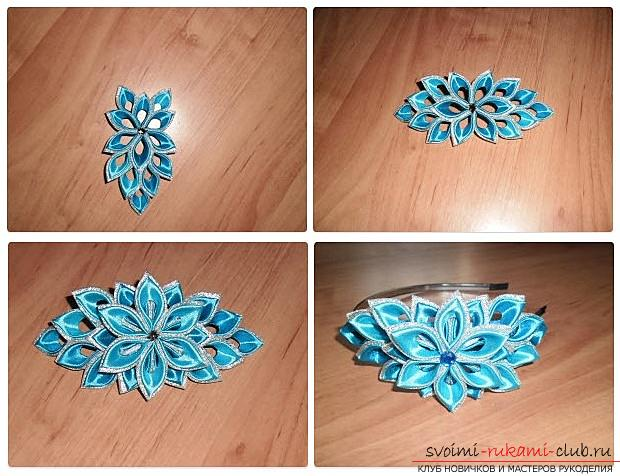 How to make a rim decoration for the hair in the form of turquoise flowers in Kansas technique, free, detailed photos and description. Photo №6