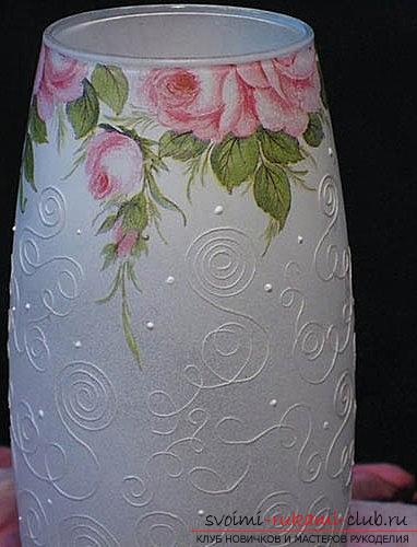 Decoupage vases with their own hands: decoupage of glass vases, pictures and flowers. Photo №5