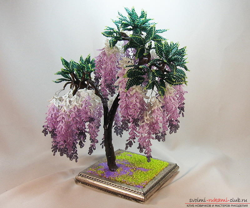 How to weave wisteria from beads, master class with detailed photos and description of the weaving. Photo №1