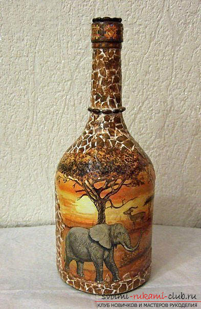 Decoupage bottles in the African style, crafts fromshells, how to make a mosaic of the shell with their own hands, a mosaic of eggshell on a glass bottle, a detailed master class on decorating bottles in African style .. Photo # 20