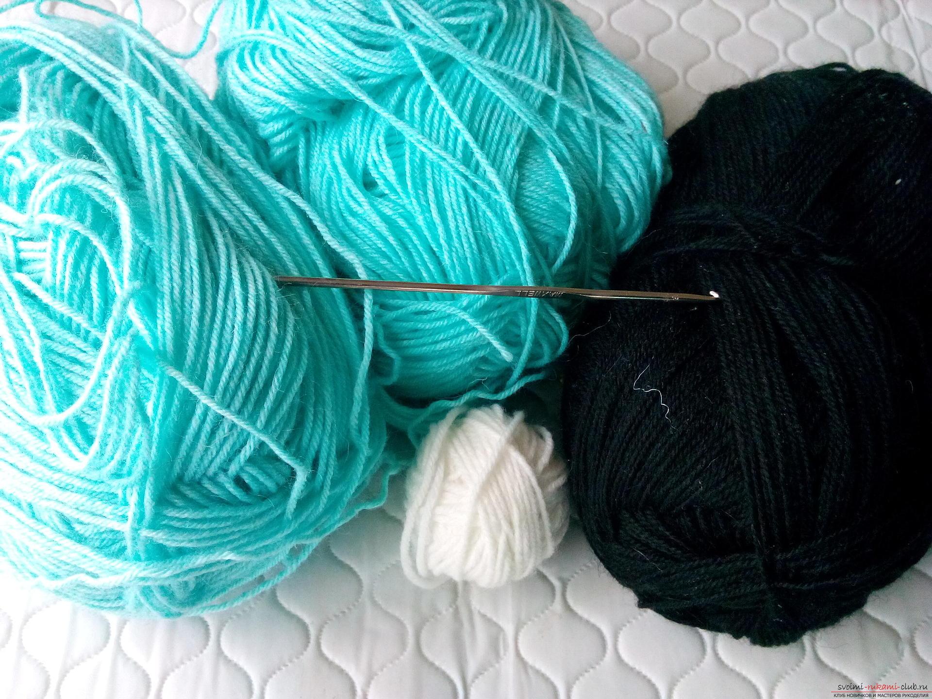 Подробно описание и снимка на комплекта за плетене на една кука за момчето от шапката и шалчето. Снимка №1