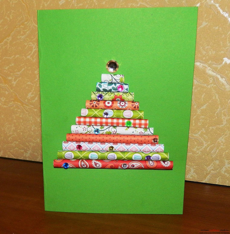 Цей майстер-клас навчить як зробити своїми руками новорічну листівку-ялинку .. Фото №12