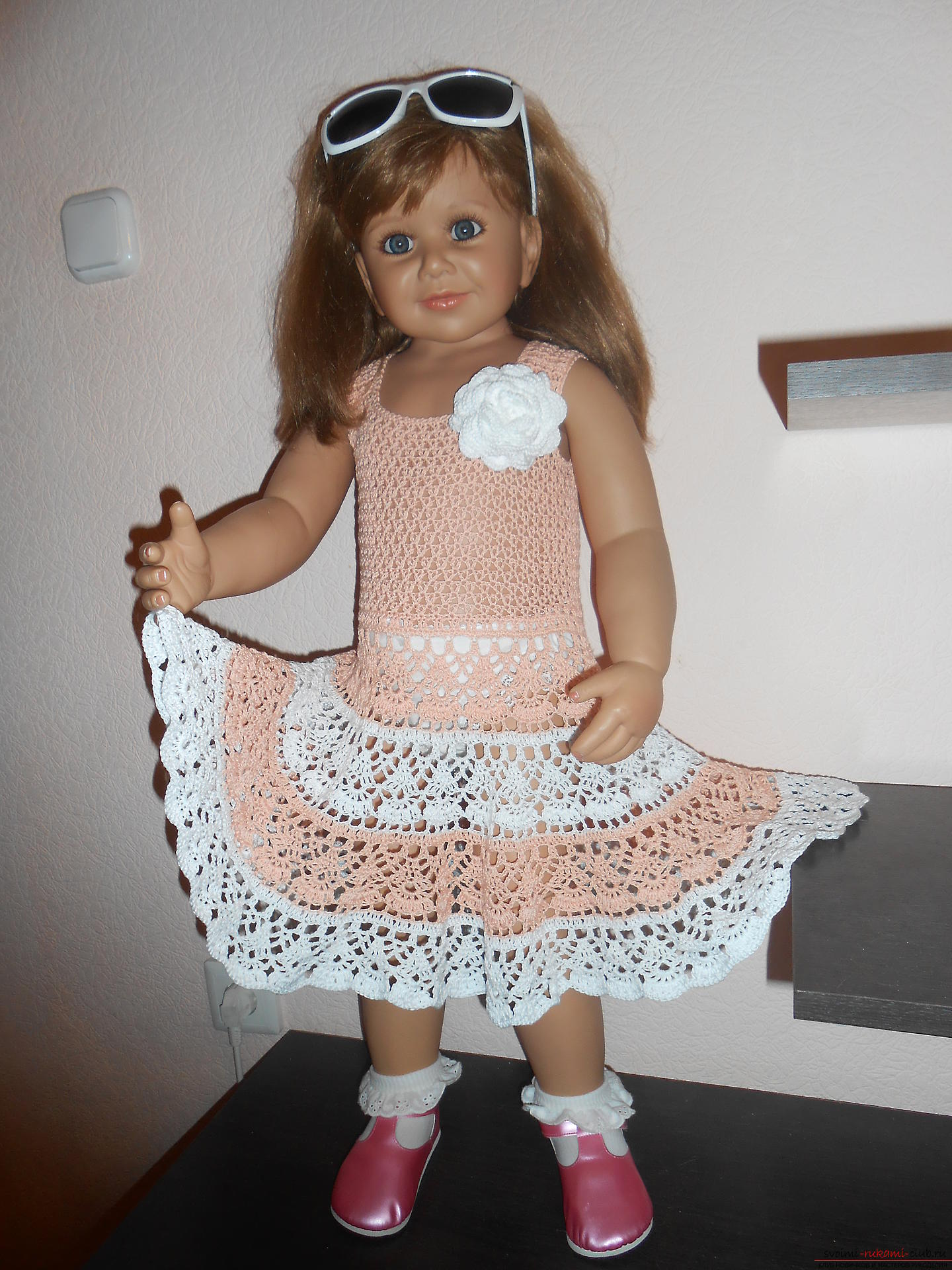 Gentle baby dress crocheted from cotton yarn Coco. Photo №4