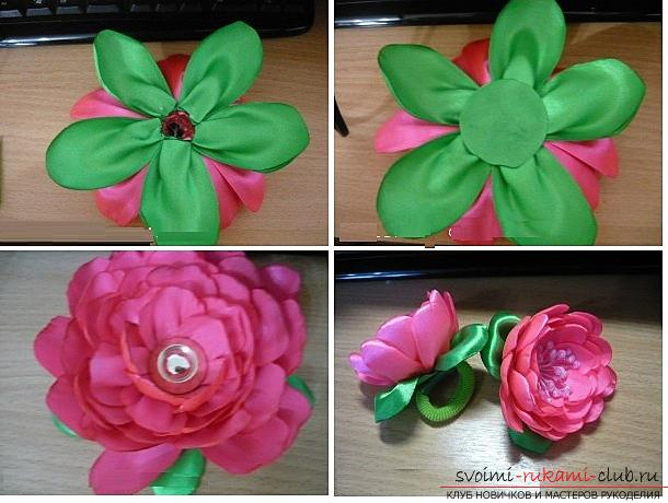 How to make roses from a ribbon with your own hands, step-by-step photos and instructions for creating a flower, seven variants of roses from a ribbon in the form of buds and blossoming flowers. Photo №38