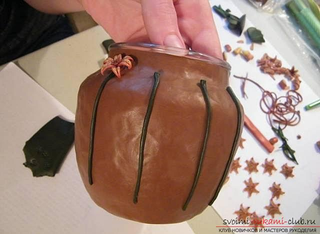 Master class with step-by-step photo, how to decorate a glass pot with polymer clay .. Photo # 26