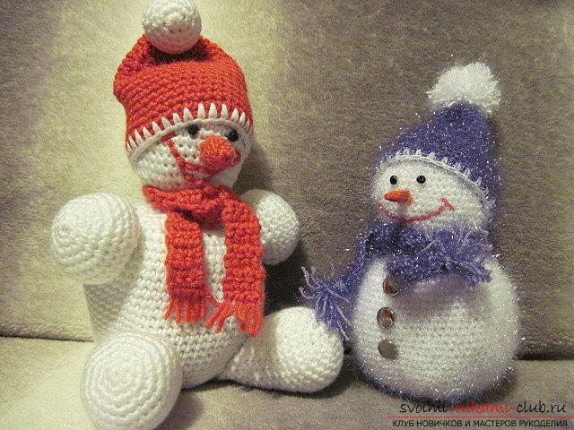 Bright snowman with amigurumi crochet with description and photo. Photo №7