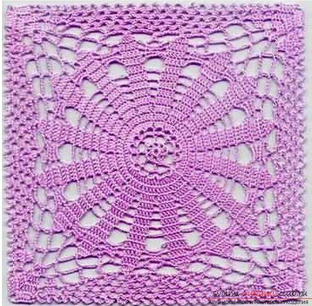 How to tie an openwork square with a crochet, an image, a scheme and a description of the work .. Photo # 9