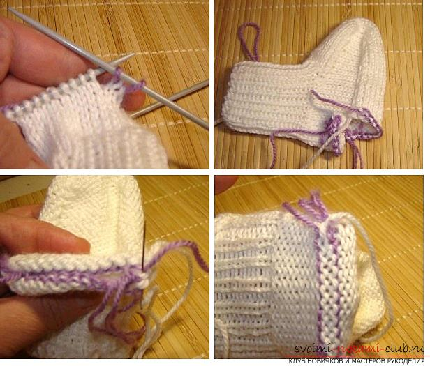 How to knit booties, knitting options on two and five spokes, with a seam on the sole and on the side, a seamless version, step-by-step photos and description. Photo №26