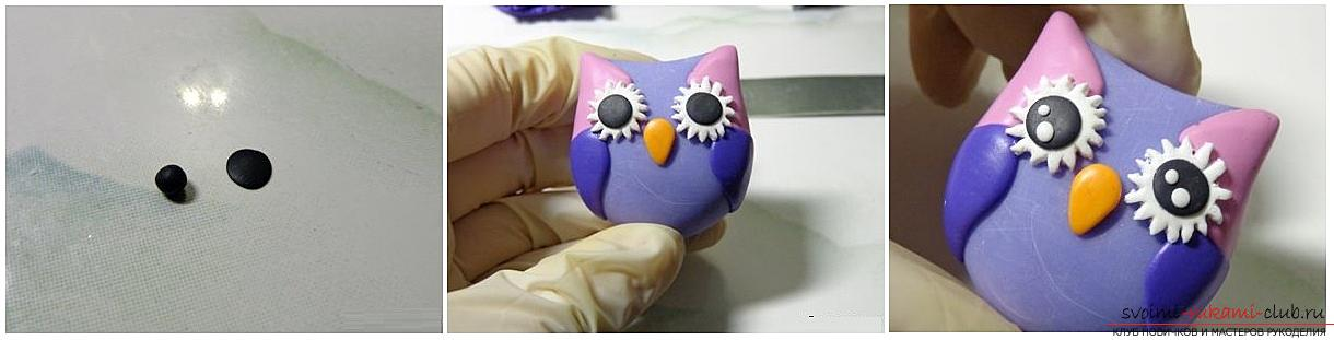 How to decorate a door handle with polymer clay. Master class on the creation of pens in the form of owls. Photo №6