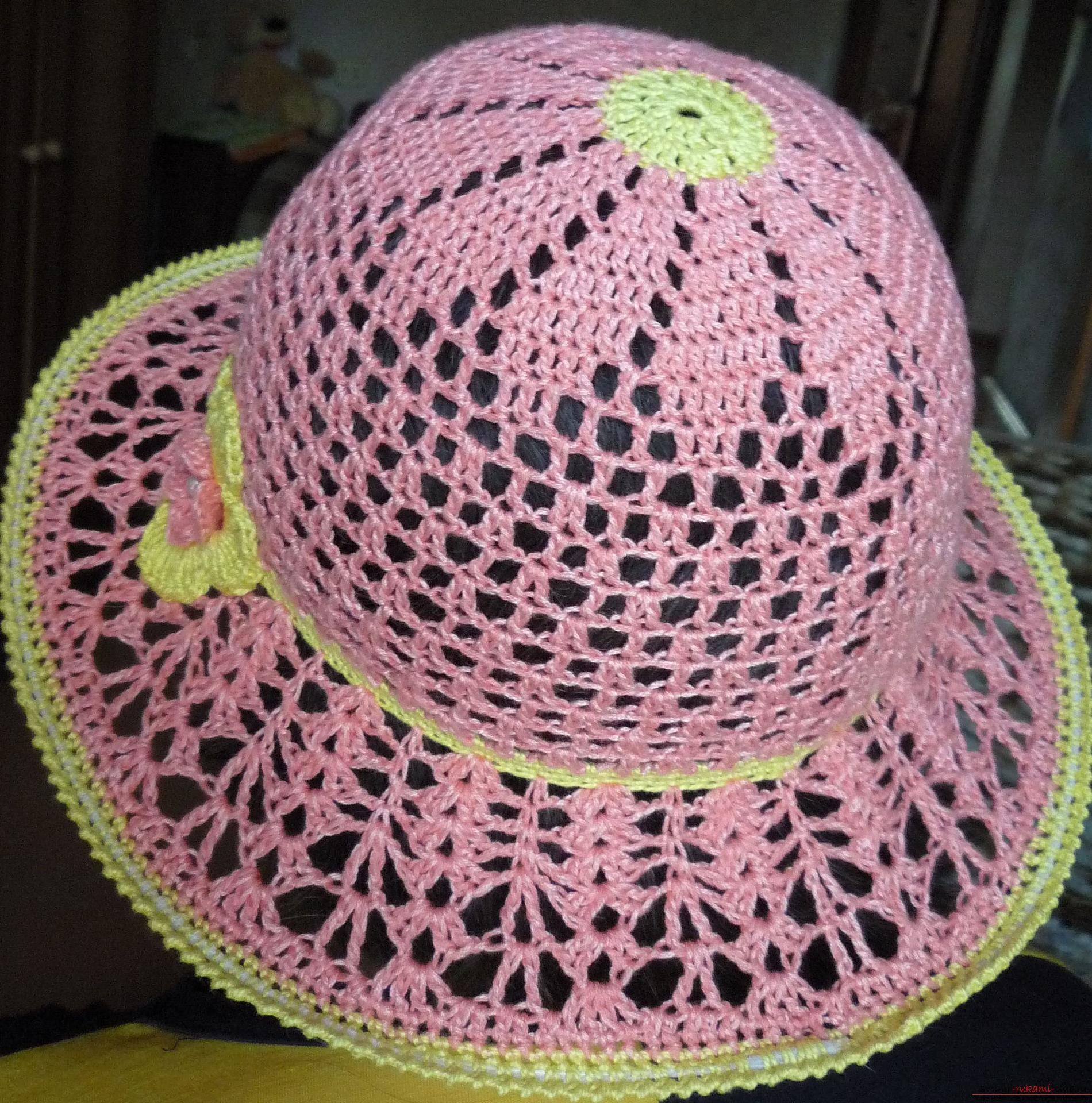 This detailed master class contains crochet lessons for beginners and will teach you how to crochet a summer hat. Photo # 33