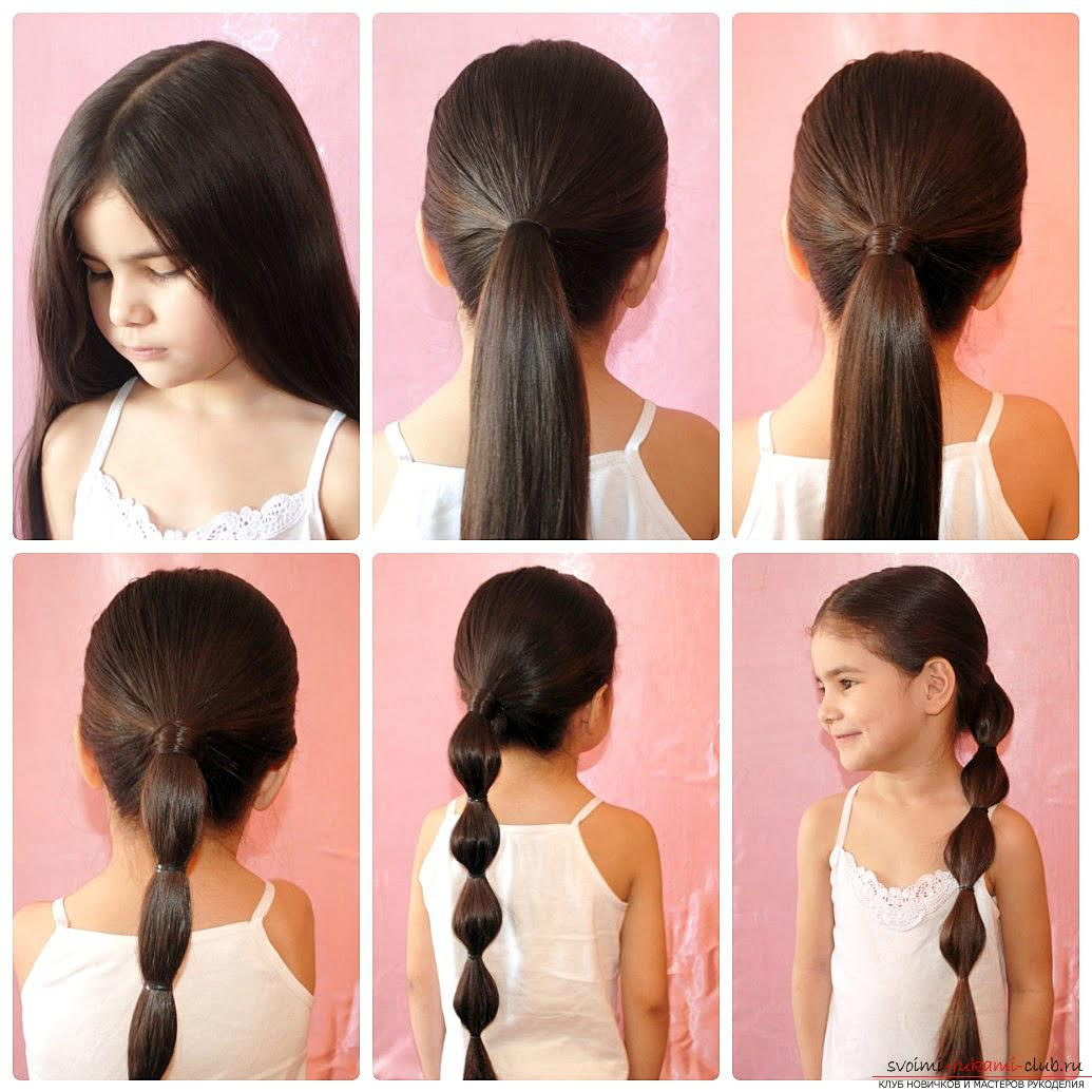 Step-by-step execution of hairstyles for girls of early and adolescence. Photo №6