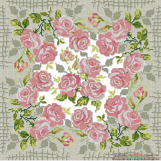 Embroidery of scarlet roses on cushions according to schemes. Photo №6