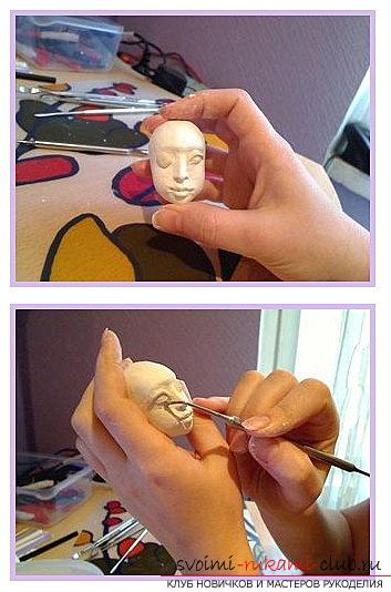 The shape of the face for a doll of polymer clay with their own hands is a master class. Photo №5
