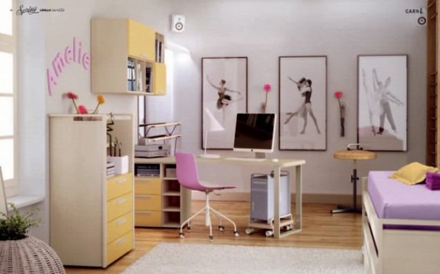 interior of a children's room for a young ballerina