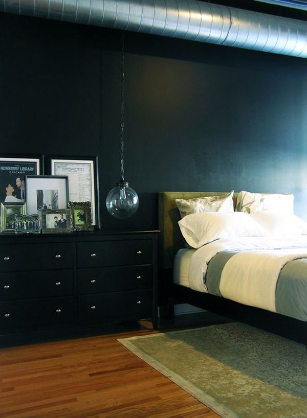 Bedroom interior design in dark color